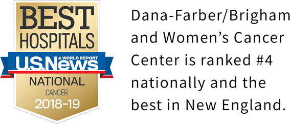 Dana-Farber/Brigham and Women's Cancer Center is ranked #4 nationally and the best in New England.